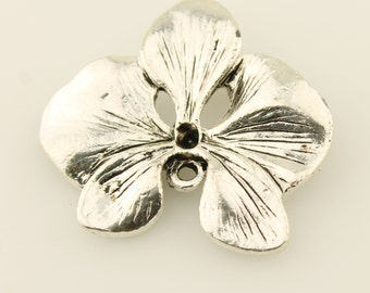 Silver Flower,  Beading Supplies, Jewelry Findings, Focal Orchid Flower