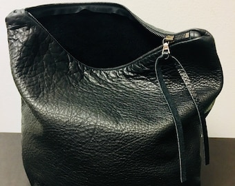 sale Black Leather Handbag, Clutch Pouch, purse, zippered bag, fashion accessories