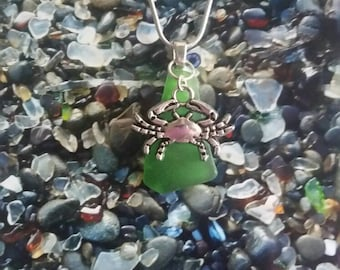 Crab sea glass necklace