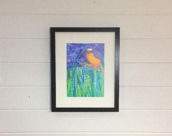 Kingfisher Print ~ kingfisher art ~ embroidery art ~ bird print wall art ~ A4 art print ~ bird gift ~ kingfisher bird ~ kingfisher wall art