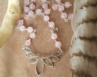 OOAK rose quartz and lotus necklace | wire wrapped | Czech glass | choker