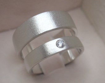 wedding band set - gemstone wedding ring - flush set natural white sapphire - for men and women - his and hers - solid sterling silver