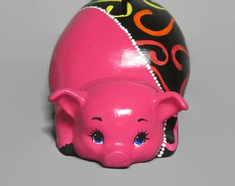 Ceramic Piggy Bank - Rainbow Piggy Bank - Pink Piggy Bank