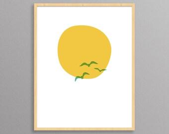 Midsummer Sun - a Scandinavian modern design print // 8.5x11 or 13x19 // Scandinavian minimal, surfer, beach style // surfer nursery