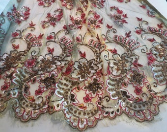 Stunning Gold Green and Burgundy Metallic Embroidered and Beaded French Chantilly Lace Fabric--One Yard