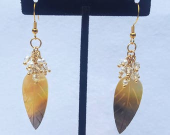 Golden Shell and Crystal Feather Earrings