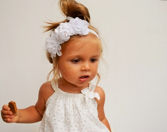 Headband enfant mariage fleurs blanches bohème champêtre, headband demoiselle d'honneur cortège, headband bébé petite fille fleurs baptême