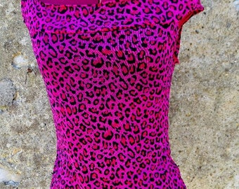 Top pink leopard psychobilly rockabilly pin up punk diy goth tropical