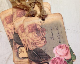Gift Tags No. 24 Vintage French RosesTag French Style Tags Wedding Favors Shabby Tags Shabby Chic Decor Cottage Tags Cottage Chic Decor