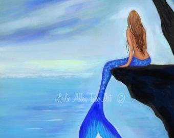 """Mermaid Art Print Mermaid Painting Mermaid Decor Mermaid Wall Art Bathroom Decor Mermaid Theme """"Mermaids Lovely Oasis"""" Leslie Allen Fine Art"""