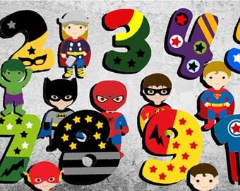 Superheros Numbers,Numbers Wall Art,Numbers Wall Decal,Numbers Poster,Numbers Print,Nursery Room Art,Kid's Room Wall Art,Nursery Room Wall