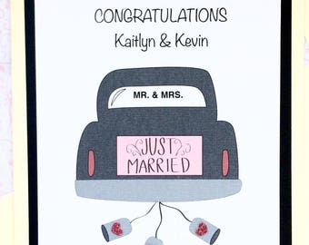 Personalized Wedding Congratulations Card-Just Married Car With Names And Wedding Date