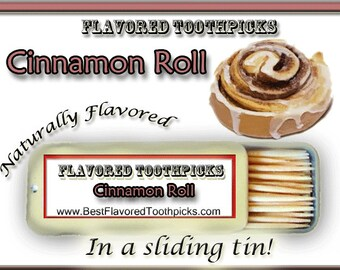 Cinnamon Roll Flavored Toothpicks - 70+ Flavors! Unique Gifts For Teachers, Unique Gifts For Her, Unique Gifts For Sisters, For Him, Candy