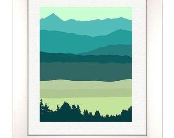 Landscape Art Print, Abstract Landscape Print, Mid Century Modern, Modern Abstract Art, Landscape Wall Art,Custom color change available