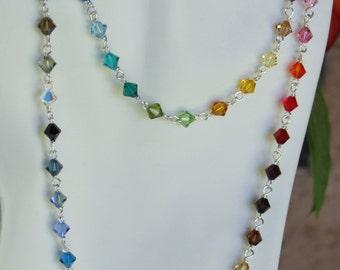 Swarovsky crystal 6mm  beads necklace 0211NK