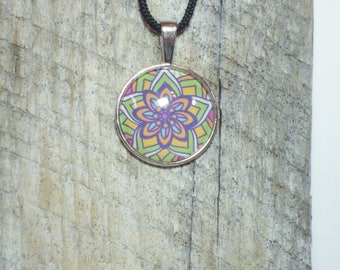 Bright Floral Necklace, Teenager Necklace, Boho Inspired Floral Pendant, Floral Pendant, Whimsical Floral Necklace