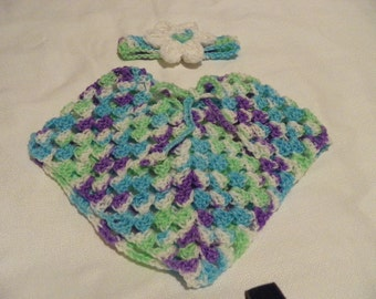 Violet on Green Grass and Sky  Poncho and Headband Set  Size 0-4 Months Hand Crochet