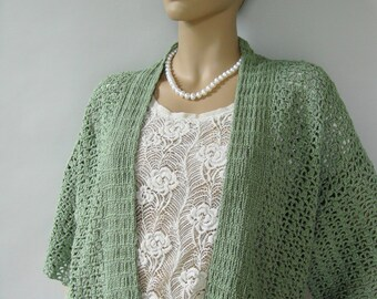 Crochet Cardigan, Cardigan, Cardigan Women, Kimono Cardigan, Green Cardigan, Crocheted Cardigan, Sage Green Cardigan, Mom Gift, M/L and XL