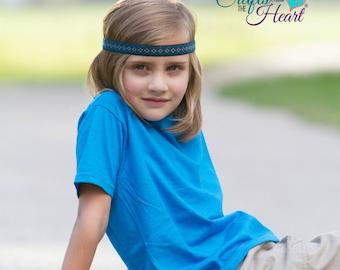 Tribal Headband - Boys Headband - Boho Headband - Bohemian Headband - Aztec Headband - Hippie Headband - Adult Headband - Blue Headband