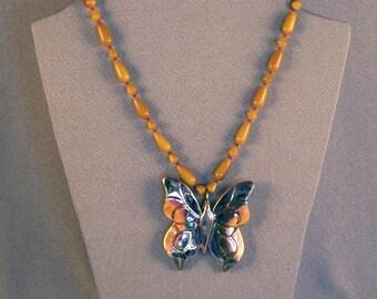 Glazed Butterfly // Handmade // Ceramic // Yellow Beaded Necklace