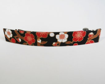 Cherry Blossoms French Barrette, Long Hair Clip, Large Chiyogami Barrette, Midnight