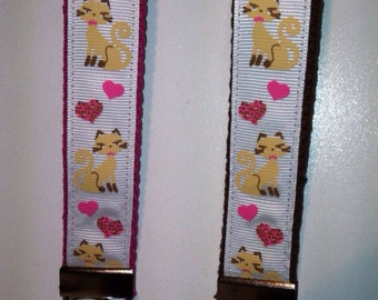 Siamese Cats and Pink Hearts Key Fob