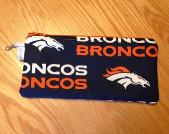 Denver Broncos Football NFL Zipper Pencil Pen Pouch