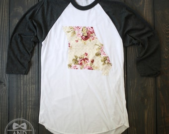 "Handmade Missouri Outline Baseball Shirt, T-Shirt,Tee- ""Shabby Chic"""