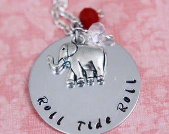 Hand Stamped Alabama Crimson Tide Roll Tide Roll Necklace with Elephant Charm