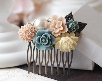 Wedding Bridal Flower Collage Hair Comb. Ivory Dusk Blue Rose, Pale Pink Flower, Pearl Flowers Hair Comb. Bridal Wedding headpiece