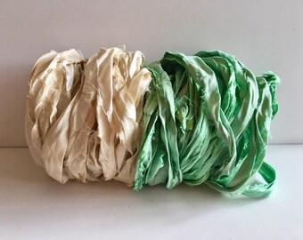Silk Sari Ribbon-Recycled Antique White & Seafoam Sari Ribbon-10 Yards
