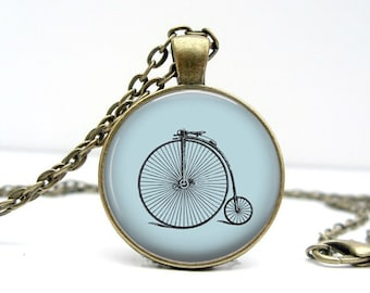 Simple Bike Necklace : Blue Glass Dome Art Picture Pendant Photo Pendant Handcrafted Jewelry  (1497)