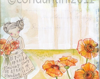 watercolor painting of a girl with poppy's -  archival limited edition print  measuring 8x10by cori dantini