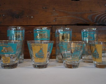 Mid Century glasses, vintage glasses, gold and turquoise glasses, set of 8 glasses, vintage barware