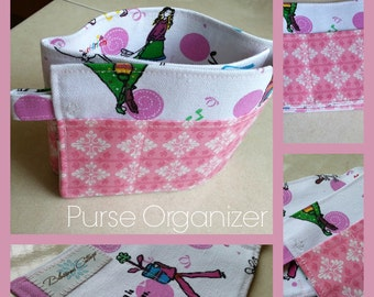 20 inch / 6 pockets Purse / Bag Organizer Insert - (small) Fashion print and  pink damask print cotton fabric