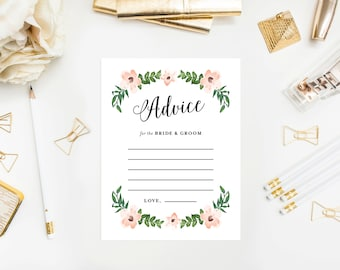 Instant Download - Romantic Vines Advice for the Bride & Groom Card