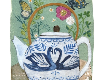 Swan Teapot Print
