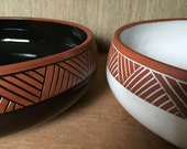 Ceramic Serving Bowl (Made to Order) - Large Salad Bowl - Terracotta Pottery by Osa - Red Clay Bowl - Modern Geometric Southwestern
