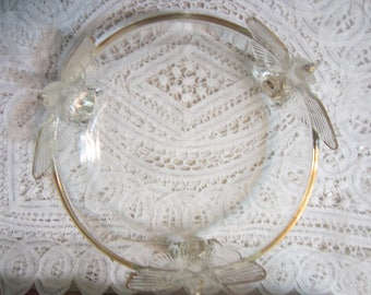 Vintage Jeannette Glass Co. Depression Era Clear Glass Eagle Pattern Bowl with Three Feet