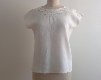 1960s embroidered linen blouse