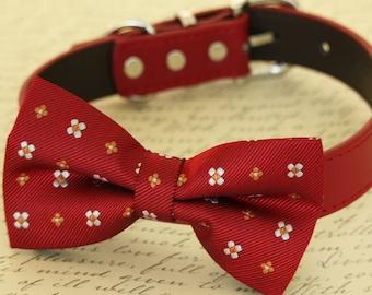 Dog Red Bow tie collar, Gift, Dog birthday, Pet wedding accessory, Flower Prints bow tie