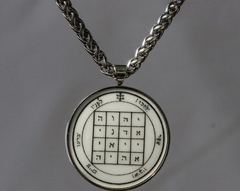 talisman 1st pentacle of Saturn for GREAT POWER HQ stainless steel set + chain amulet