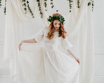 White Embroidered Pearl Boho Wedding Dress - Size Extra Small Vintage Cotton Gown