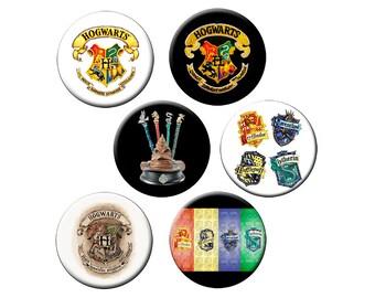 """HOGWARTS 6 Sm Pins or L Pin or L Magnet - Choose 6 Sm 1.25"""" Hogwarts Buttons, One Lg 2.25"""" Pin or One Lg 2.25"""" Magnet Harry Potter Crest"""