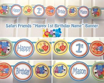 Safari Banner Safari Happy Birthday Banner Safari Friends Birthday Banner Jungle Banner Jungle Birthday  Banner (DIY Printable Digital File)