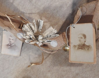 Vintage Cabinet Photograph Burlap Garland with Vintage Jewlery Findings, Music Paper and Tinsel Garland Bits