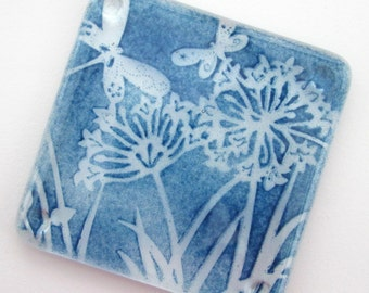 Blue glass coaster hand printed tea coffee mat drink coaster wine bottle mat pot stand gift hostess gift exchange 4th wedding anniversary