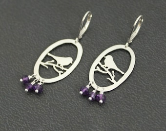 Sterling Silver and purple Amethyst Bird on a Branch Silhouette Earrings