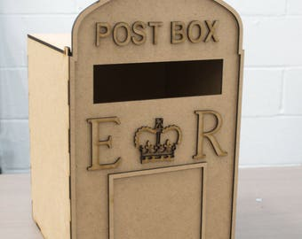 Wedding Post Box, unpainted MDF, royal mail, for cards, flat pack,