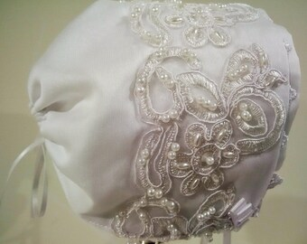 White baby Bonnet with Lace and pearl detail